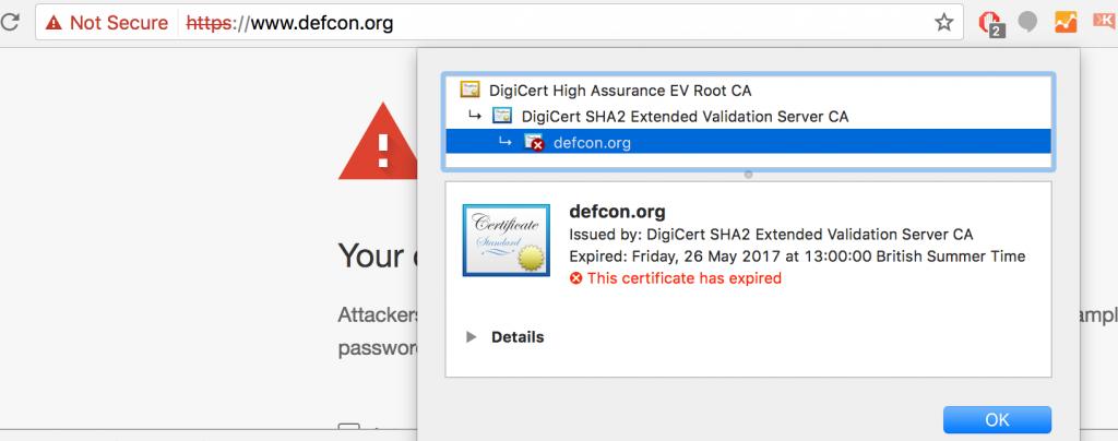 DEFCON SSL expired